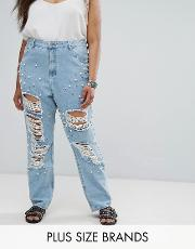 distressed boyfriend jean with pearl embellishment