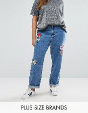 embroidered heart badge denim jean