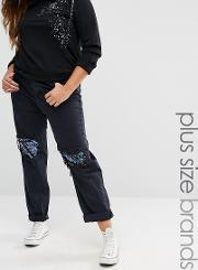 plus sequin boyfriend jean