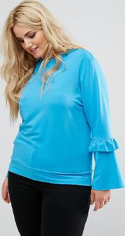 ruffle and fluted sleeve jumper
