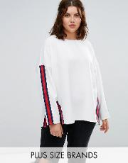 step hem sweater with moto trim