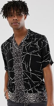 Revere Collar Shirt With Monochrome And Leopard Print
