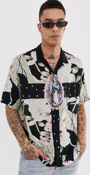 Revere Collar Shirt With Sacred Print