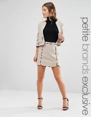 scallop hem skirt with piping detail co ord