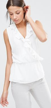 Wrap Front Sleeveless Blouse With Ruffle Detail