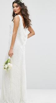 Bridal Cowl Back Maxi Dress In All Over Embellishment