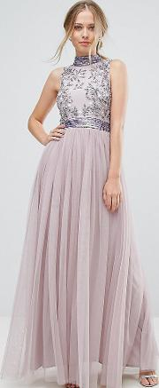 embellished maxi dress with tulle skirt