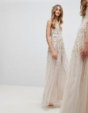 embellished ombre sequin cami strap maxi dress