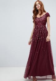Embellished Ombre Sequin Maxi Dress With Cami Strap Berry