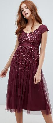 Embellished Ombre Sequin Midi Dress With Cami Strap Berry