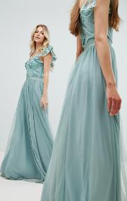 embellished top maxi dress with frill sleeve detail