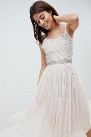 Midi Cami Strap Dress With Tulle Skirt And Embellished Upper