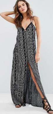 linear print beach maxi dress