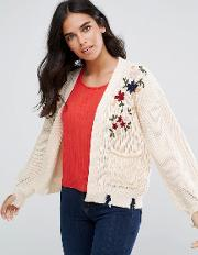Cardigan With Floral Embroidery And Pocket Detail