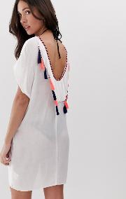 Scoop Neck Beach Dress With Tassel Detailing