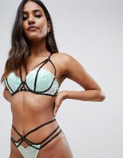 Midnight Kiss Balcony Lace And Strapping Detail Bra Mint