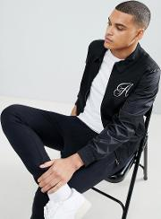 black cotton logo bomber