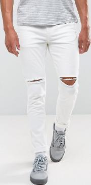 Ripped Skinny Jeans  White