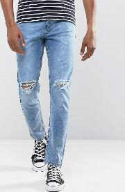 Stretch Ripped Skinny Jeans  Light Blue Stone Wash