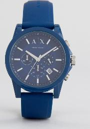 ax1327 chronograph silicone watch in blue