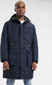 Longline Padded Parka With Back Taping