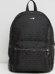 all over logo backpack in black