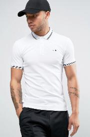 Slim Fit Pique Polo Tipped Logo In White