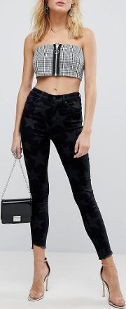Afrm All Over Star Skinny Jeans With Raw Hem