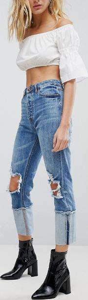 afrm cut out knee distressed boyfriend jeans with turned up hem