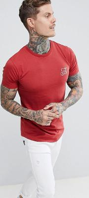 muscle fit basic  shirt with curved hem