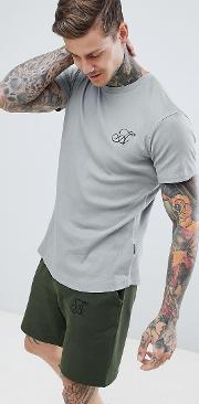 muscle fit salt and pepper ribbed  shirt with curved hem