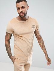slim fit velour  shirt with curved hem