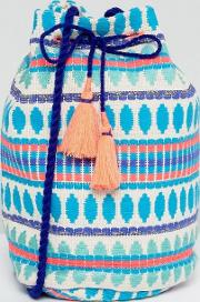 Embroidered Across Body Beach Bucket Bag With Tassel Detail