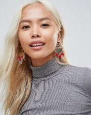 Statement Earrings With Pom  Detail