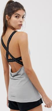 Cross Back Elastic Wrap Cami Top