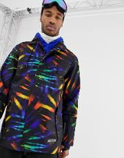 Ski Coach Jacket With Tie Dye Print