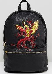 Backpack In Faux Leather With Embroidered Bird Design
