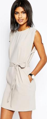 Belted Mini Dress With Split Cap Sleeve And Pencil Skirt