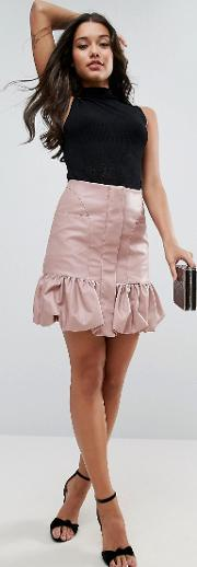 bubble hem mini skirt  leather look