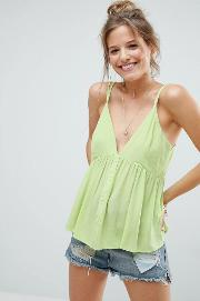 cami in crinkle with button front