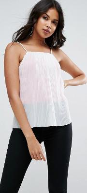 cami in pleated mesh