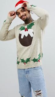 Christmas Jumper With Festive Pudding Design