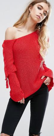 chunky jumper with off shoulder and  ring