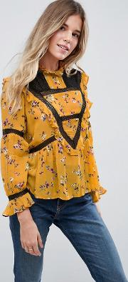Crochet Ditsy Floral Victoriana High Neck Blouse