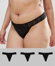3 Pack Basic Leafy Lace Band Microfibre Thong