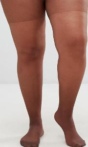 asos design curve 15 denier nude tights in umber