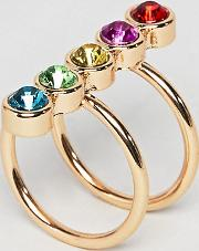 asos design curve exclusive ring with multicolour jewels  gold