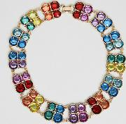 asos design curve exclusive statement necklace with multicolour jewels in gold