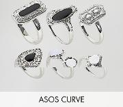 asos design curve pack of 6 enamel and faux moonstone rings