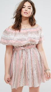 Beach Sundress With Off Shoulder In Natural Stripe
